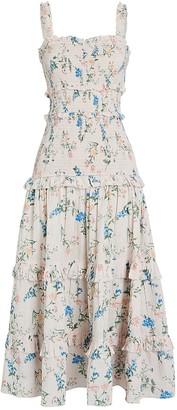 Saylor Altea Smocked Floral Cotton Dress