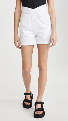 RtA Ellena-Pleated Waistband Shorts