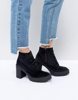 St Sana Velvet Platform Chunky Heel Boot-Black