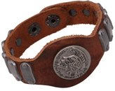 SumBonum Jewelry Mens Alloy Leather Cuff Bracelet, Punk Rock Rivet Charm Bracelet, Brown Silver