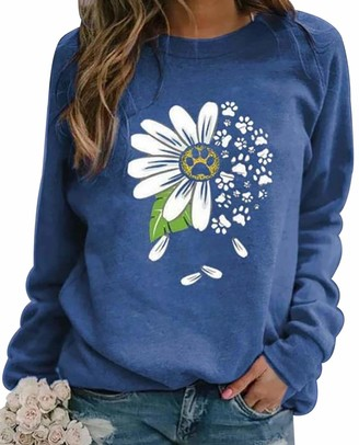Peuignao Crewneck Sweatshirt Women Ladies Round Neck Daisy Printed Sweatshirts Womens Oversized Sweatshirt Long Sleeve Pullover Jumper Women Casual Loose Top Plus Size Sweat Tops Womens Sports Jumpers Blue XL