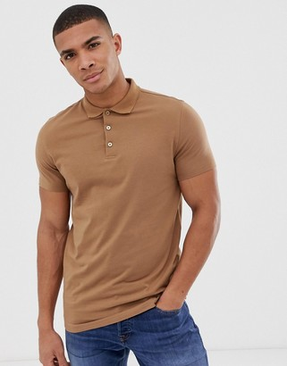 Asos Design DESIGN jersey polo in brown