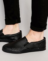 Asos Slip On Sneakers in Black Pyramid With Toe Cap