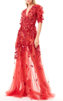 ZUHAIR MURAD Jacamar Floral Applique Dress