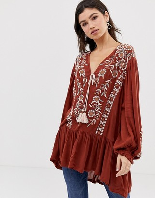 Free People Wild Dreams embroidered tunic top