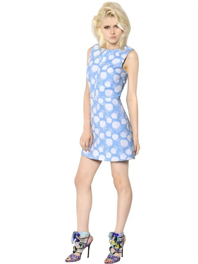 MSGM Embroidered Flower Cotton Toile Dress
