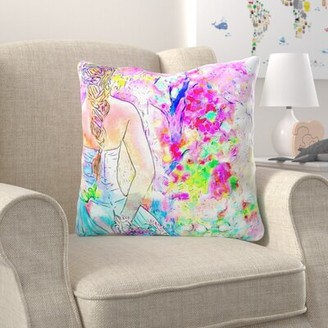 Zoomie Kids Buskirk Girl Throw Pillow Cover Material: Microsuede, Location: Indoor