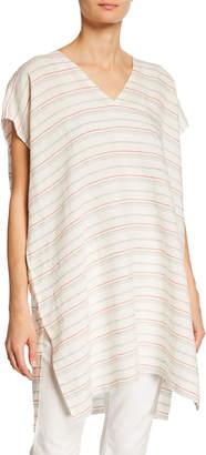 Eileen Fisher Plus Size Striped Organic Linen Caftan
