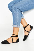 boohoo Pointed Toe Cross Strap Ballets