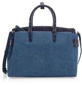 Thumbnail for your product : Nancy Gonzalez Large Crisitie Crocodile-Trim Linen Top-Handle Bag