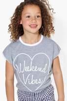 boohoo Girls Weekend Vibes Tee grey