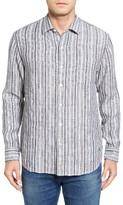 Tommy Bahama Men's Ricky Jacquardo Standard Fit Stripe Linen & Cotton Sport Shirt