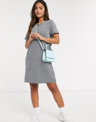 Brave Soul pocket detail shift dress in black and white check
