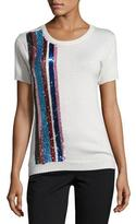 Prabal Gurung Sequined-Stripe Cashmere-Silk Short-Sleeve Sweater, Ivory