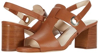 Cole Haan Adele Sandal (65 mm) (CH British Tan Tumble Leather/Dark Natural Semi Shine Stack) Women's Shoes
