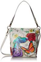 Anuschka Anna By Anna by Women's Genuine Leather Large Hobo Handbag | Hand Painted Original Artwork | Zip-Top Organizer | Floral Paradise