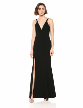 Dress the Population Women's Iris Plunging Spaghetti Strap Sleeveless Long Gown