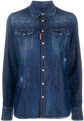 DSQUARED2 Crystal-Embellished Denim Shirt