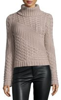 Ramy Brook Silena Mixed-Knit Merino Wool Turtleneck Sweater, Saddle