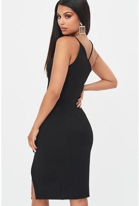 Lavish Alice Strappy Asymmetric Split Side Dress - Black