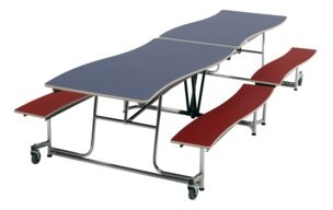 Mobile Rectangular Bench Cafeteria Table AmTab Manufacturing Corporation Size: 29'' H x 121'' L x 62'' W
