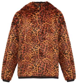 Aries Leopard Print Faux Fur Hooded Sweatshirt - Womens - Leopard