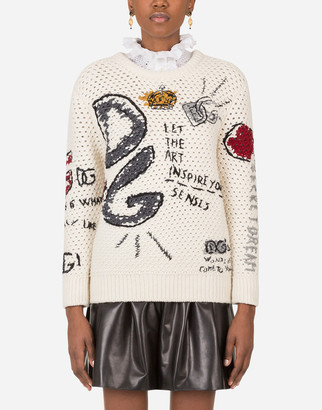 Dolce & Gabbana Round-Neck Wool Sweater With Intarsia And Embroidery