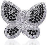 Peora Sterling Silver Rhodium Nickel Finish Vintage Butterfly Brooch with White and Black CZ