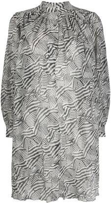 Isabel Marant Abstract-Print Gathered Shift Dress