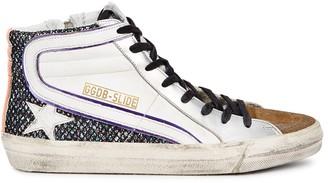 Golden Goose Slide distressed leather hi-top sneakers