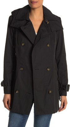 London Fog Water Repellent Hooded Double Breasted Trench Coat