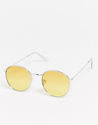 Topman round sunglasses in silver with yellow lens