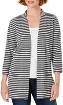 Karen Scott Striped Open-Front Cotton Blend Cardigan