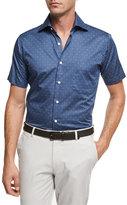 Peter Millar Marauder Skull & Crossbones Short-Sleeve Cotton Sport Shirt