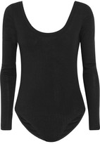 Splendid Luxe Ribbed Cotton And Cashmere-blend Bodysuit - Black
