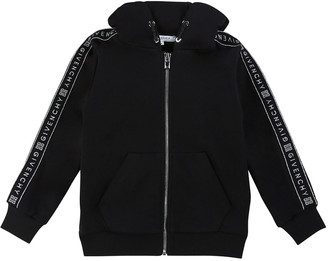 Givenchy Girl's Zip-Front Logo Trim Hooded Sweatshirt, Size 4