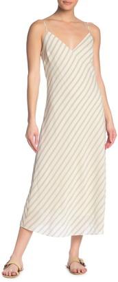 Frame Stripe Bias Cut Midi Dress