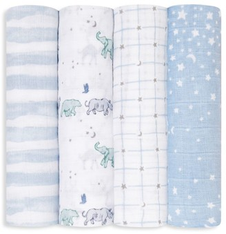 Aden Anais Baby Boy's 4-Pack Rising Star Large Muslin Swaddle Blanket