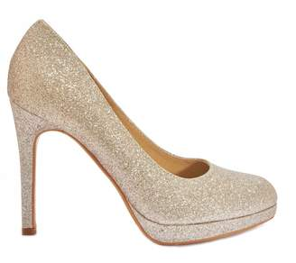 Linzi Truffle Collection Champagne Glitter Low Platform High Heels