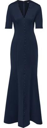 Badgley Mischka Fluted Button-detailed Neoprene Gown