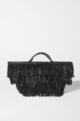 Saint Laurent Panier Fringed Leather Tote - Black