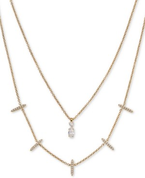 "AVA NADRI 18k Gold-Plated Cubic Zirconia Layered Pendant Necklace, 16 & 18"" + 1"" extender"