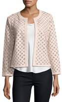 Neiman Marcus Leather Grid Jacket, Light Pink