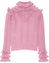Gucci Ruffled Pointelle-knit Wool-blend Sweater - Baby pink