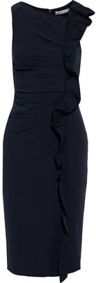 Max Mara Cleo Ruffled Poplin-trimmed Stretch-jersey Dress