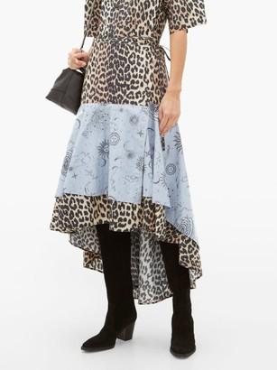 Ganni Leopard And Moon-print Dip-hem Cotton Skirt - Blue Multi