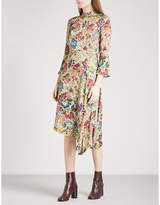 Sandro Floral-print satin-twill midi dress