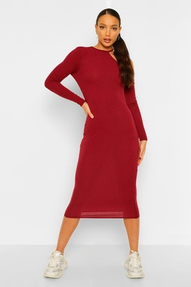 boohoo Tall Rib Long Sleeve Cut Out Bodycon Midi Dress