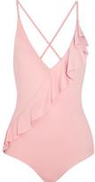 Marysia Swim Palisades Ruffle-trimmed Swimsuit - Antique rose