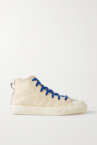 adidas + Pharrell Williams Hu Nizza Rf Rubber-trimmed Leather High-top Sneakers - Cream